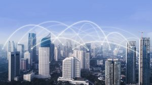 High buildings with network connection between them at morning